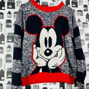 Disney Knit Striped Mickey Mouse Crewneck Sweater
